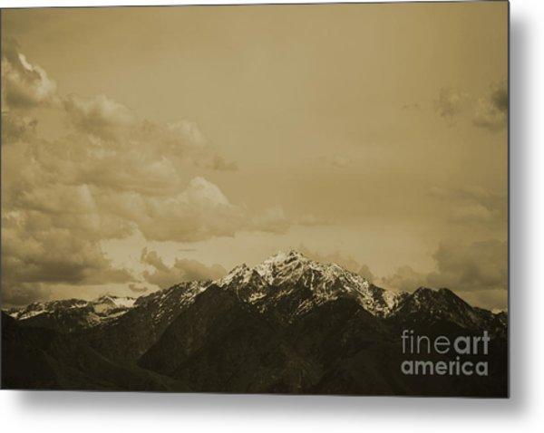 Utah Mountain In Sepia Metal Print