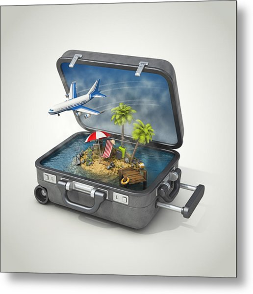 Vacation Island In Suitcase Metal Print by Pagadesign