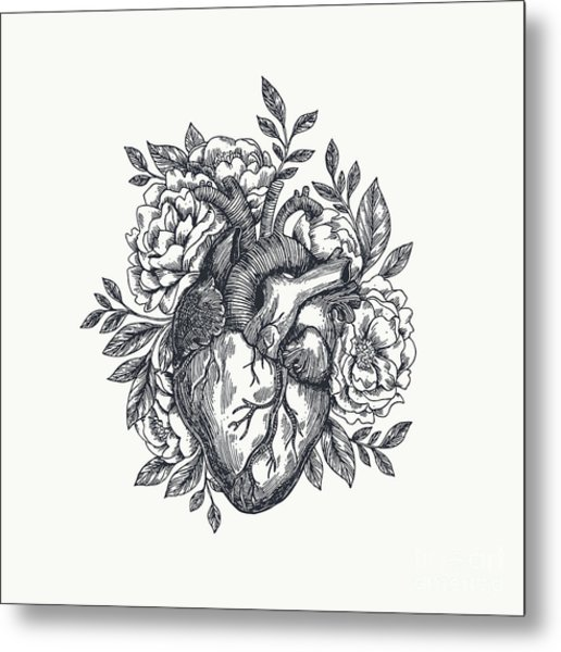 Valentines Day Card. Anatomical Heart Metal Print