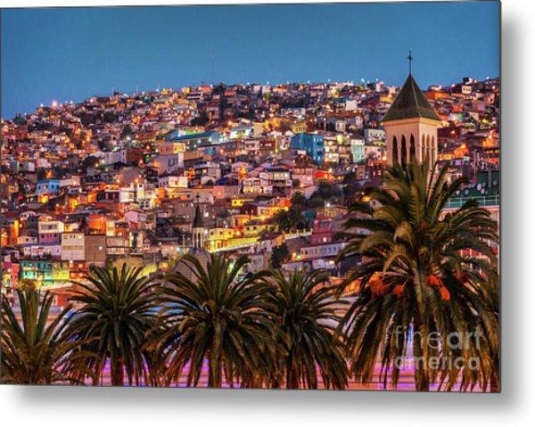 Valparaiso Illuminated At Night Metal Print