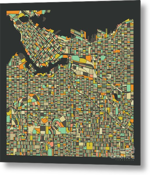 Vancouver Map 2 Metal Print by Jazzberry Blue