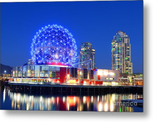 Vancouver Science World At Night Metal Print by Wangkun Jia