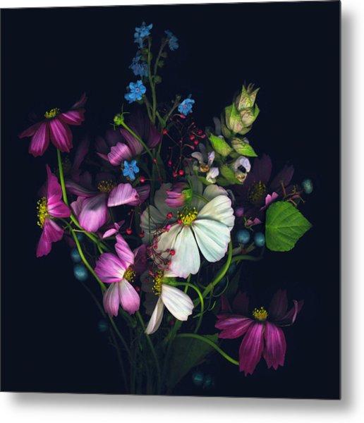 Variety Of Flowers Against Black Metal Print by John Grant