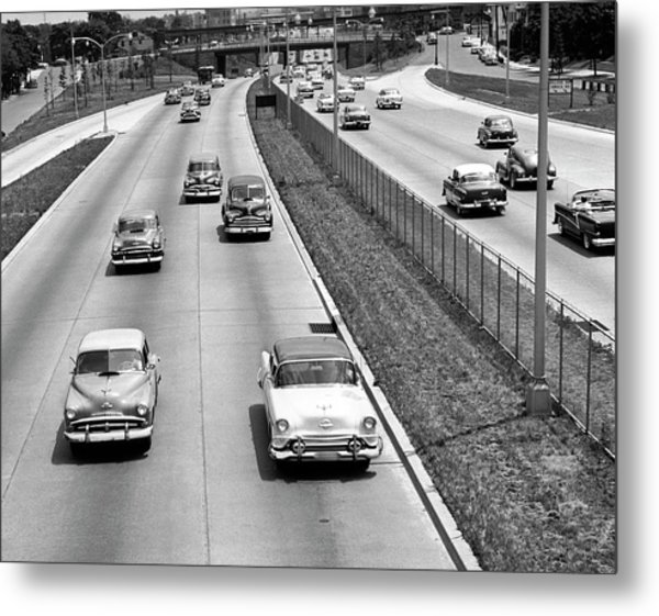 Various American Autos On Highway Metal Print by George Marks