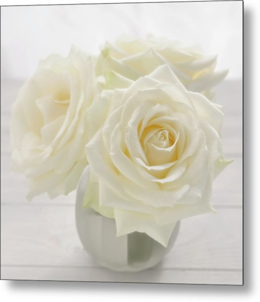 Vase With Tree White Roses On A Sunny Metal Print by Cora Niele