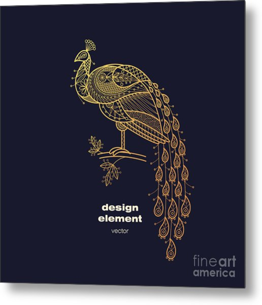 Vector Design Element - Peacock. Icon Metal Print