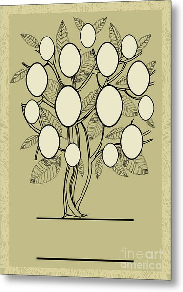 Vector Family Tree Design With Frames Metal Print