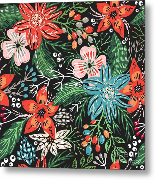 Vector Floral Seamless Pattern With Metal Print