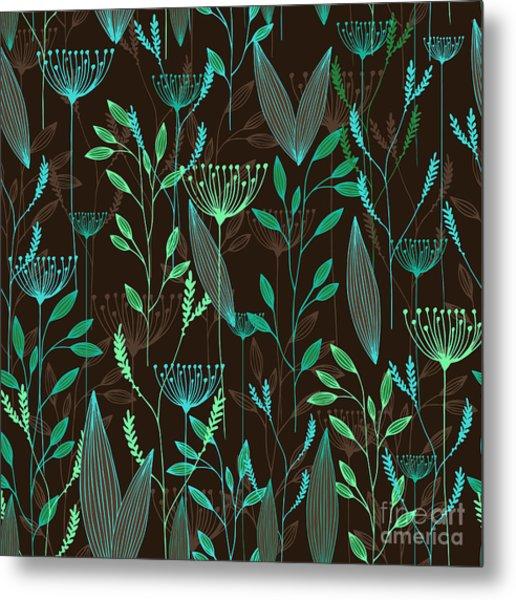Vector Grass Seamless Pattern Metal Print