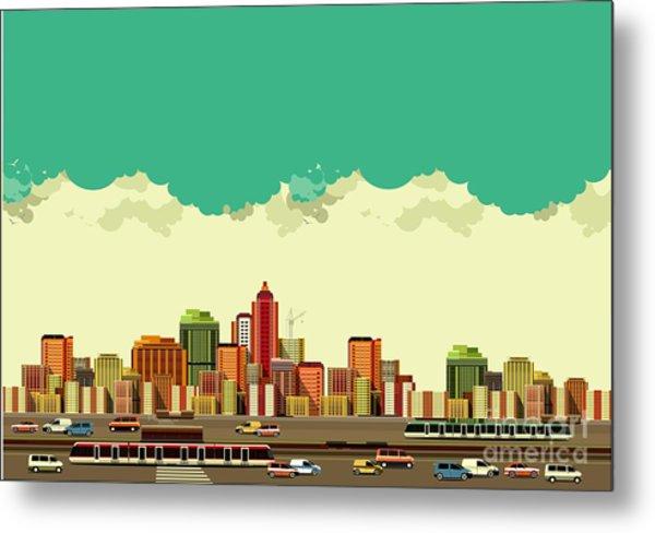 Vector Illustration Big City Panoramic Metal Print