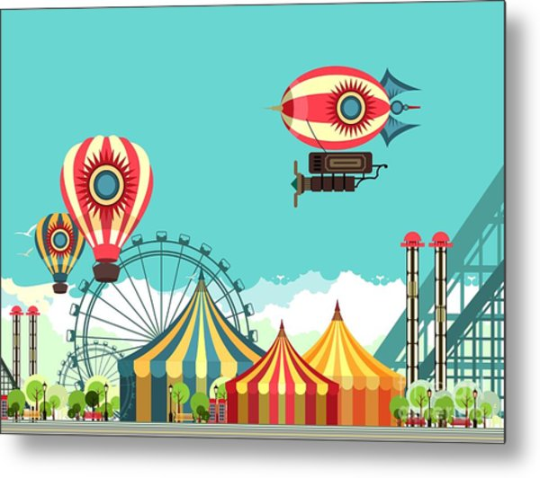 Vector Illustration Carnival Circus Metal Print by Marrishuanna