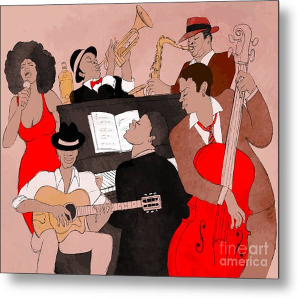 Vector Illustration Of A Jazz Band Metal Print