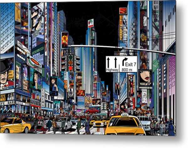 Vector Illustration Of A Street In New Metal Print