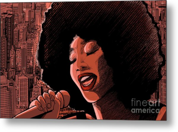 Vector Illustration Of An Afro American Metal Print