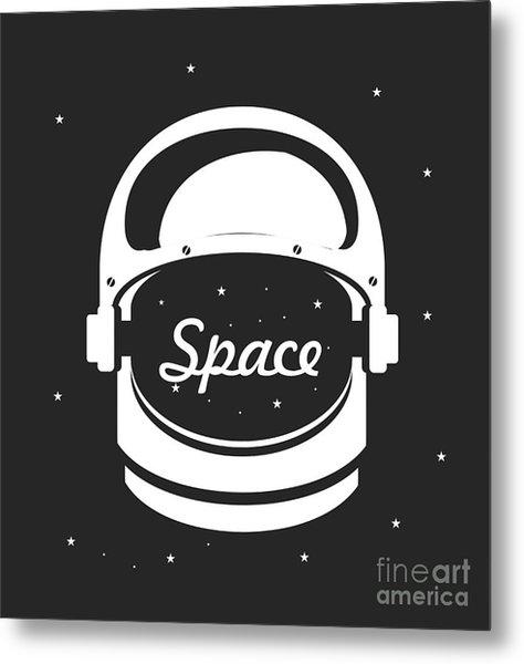 Vector Illustration Poster Space Helmet Metal Print