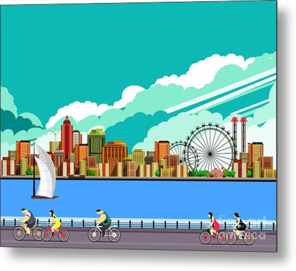 Vector Illustration Promenade Ride A Metal Print