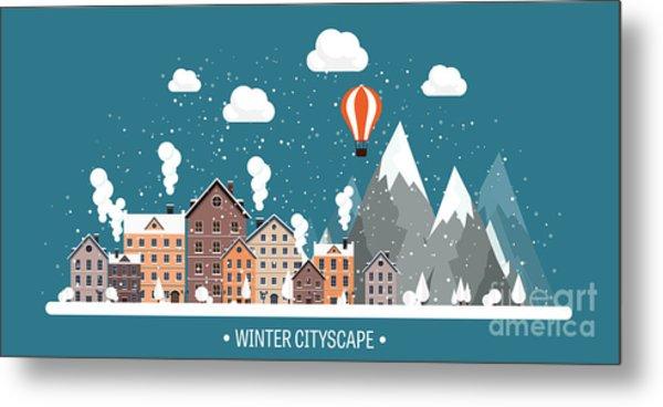 Vector Illustration. Winter Urban Metal Print by 32 Pixels