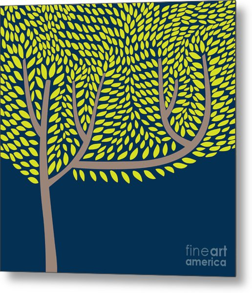 Vector Illustration With Abstract Tree Metal Print