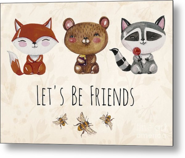 Vector Lovely Cute  Illustration With Metal Print