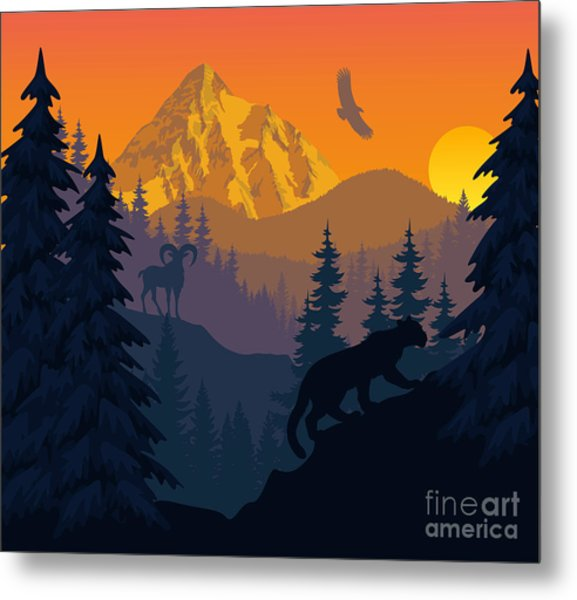 Vector Mountains Evening Landscape With Metal Print