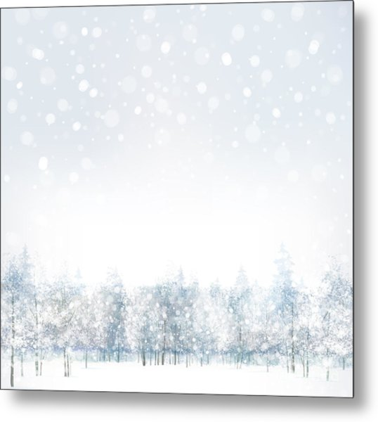 Vector Of Winter Scene With Forest Metal Print