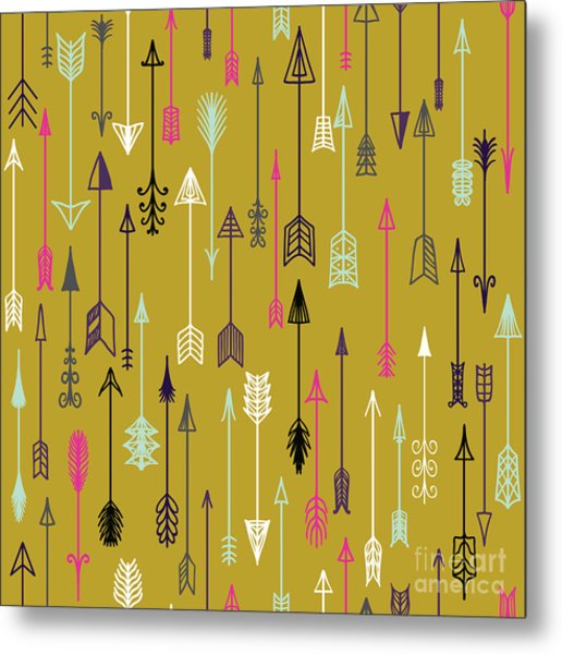 Vector Seamless Colorful Ethnic Pattern Metal Print