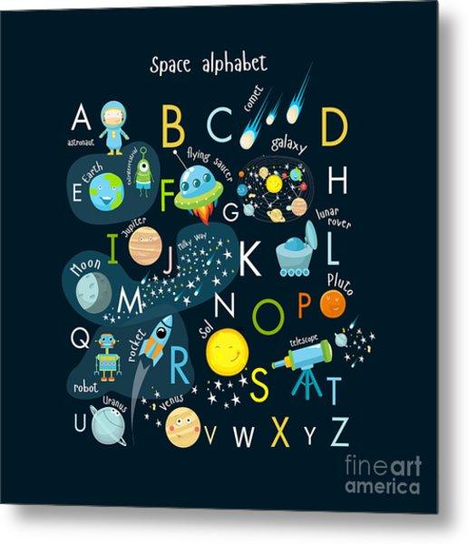 Vector Space Alphabet Metal Print
