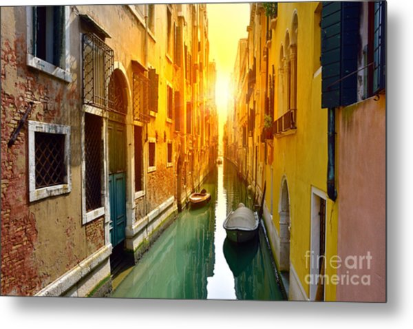 Venice Canal At Sunrise. Tourists From Metal Print