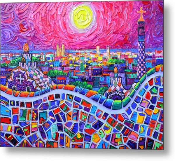 Vibrant Barcelona Night View From Park Guell Modern Impressionism Knife Painting Ana Maria Edulescu Metal Print