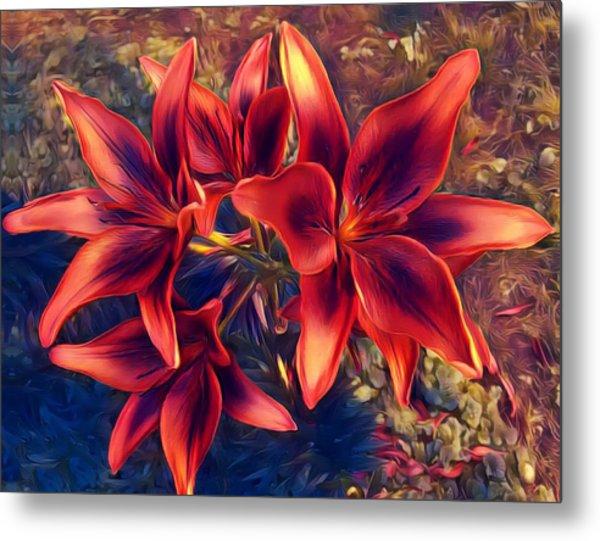 Vibrant Red Lilies Metal Print