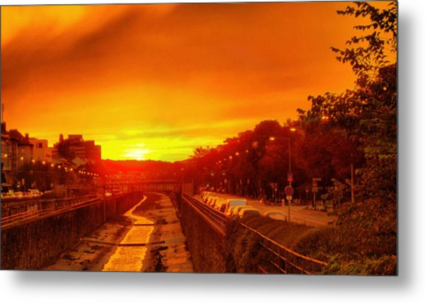 Vienna Bathed In Orange Sunset Light Metal Print