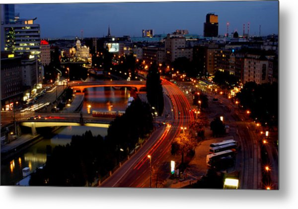 Vienna - City Night Lights Metal Print