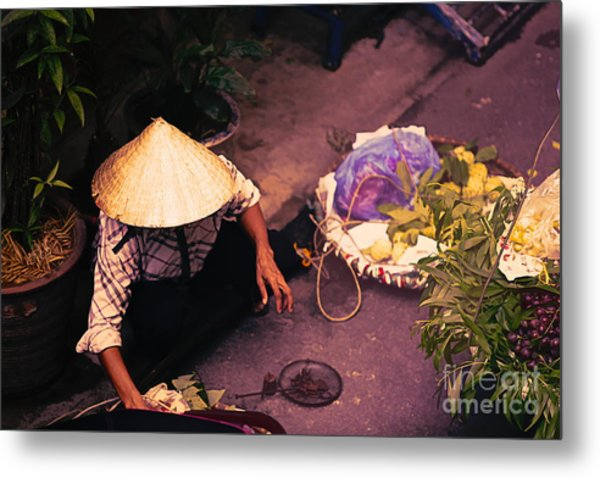 Vietnamese Selling Veggies Streets Of Hanoi  Metal Print
