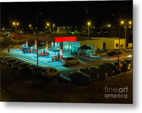 View Of A Urban Gas Station Working In Metal Print