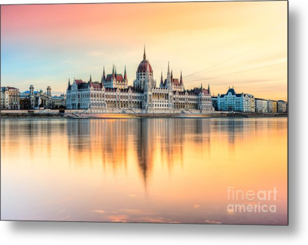 View Of Budapest Parliament At Sunset Metal Print