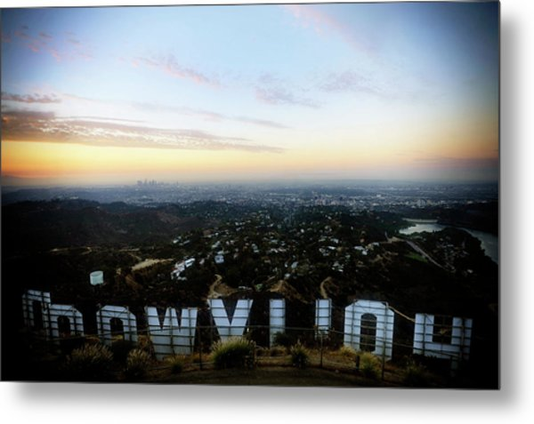 View Of La From Behind The Hollywood Metal Print
