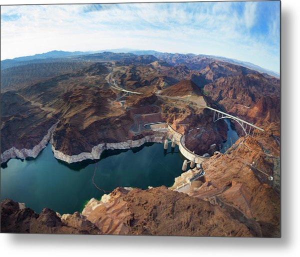 View Of Lake Mead And Hoover Dam Metal Print by Derek E. Rothchild