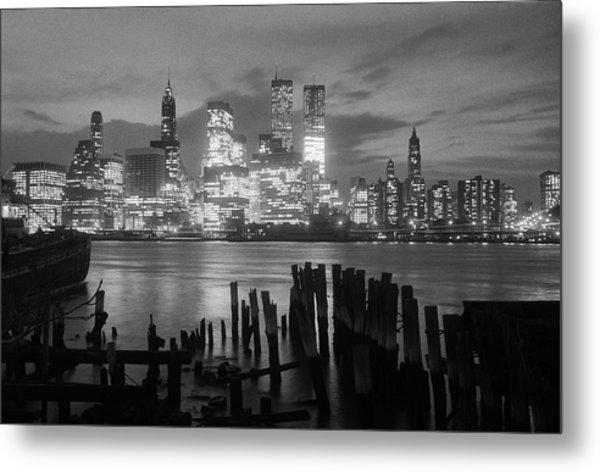 View Of Manhattan Skyline From Brooklyn Metal Print by Bettmann