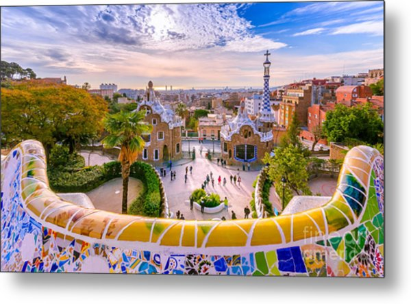 View Of The City From Park Guell In Metal Print by Georgios Tsichlis