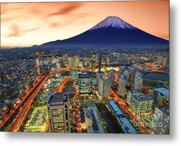 View Of Yokohama And Mt. Fuji In Japan Metal Print