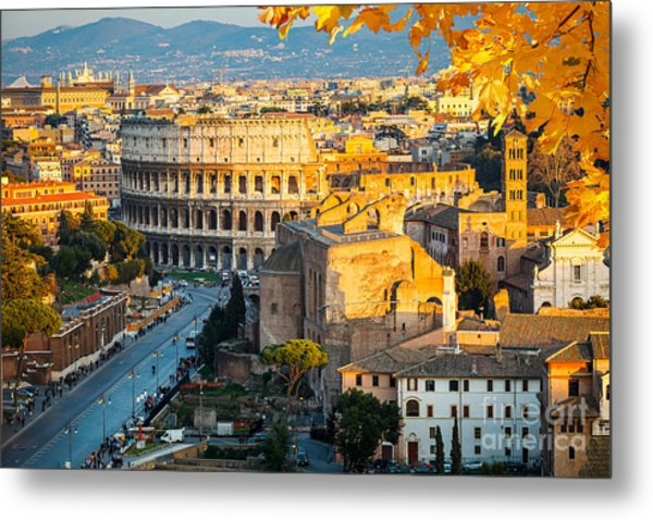 View On Colosseum In Rome, Italy Metal Print