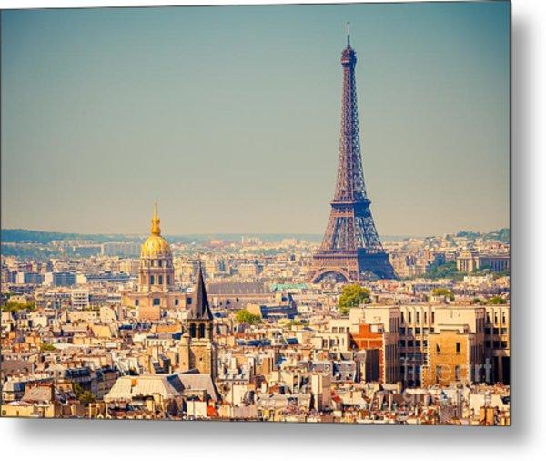 View On Eiffel Tower, Paris, France Metal Print