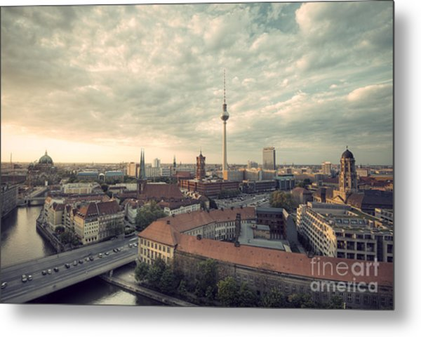 View Over Berlin Mitte At Evening Metal Print