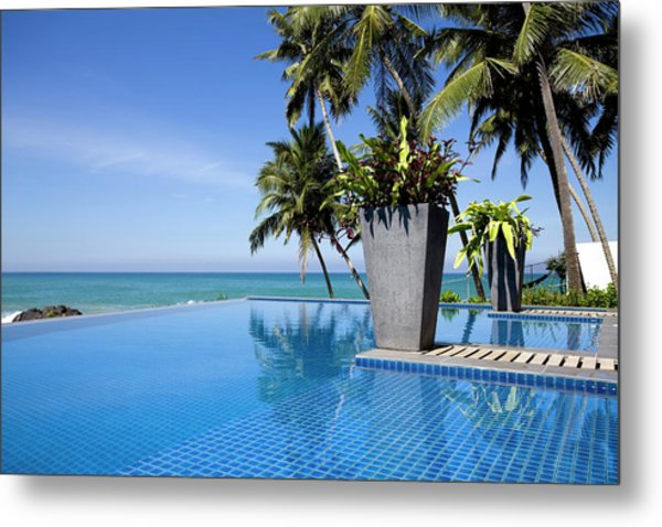 Villa Hotel Swimming Pool Sri Lanka Metal Print by Laughingmango