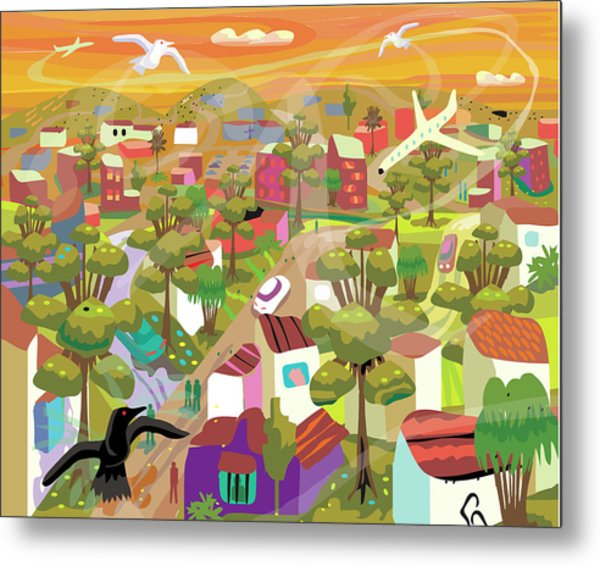 Village In Movement And Child Like Metal Print by Charles Harker