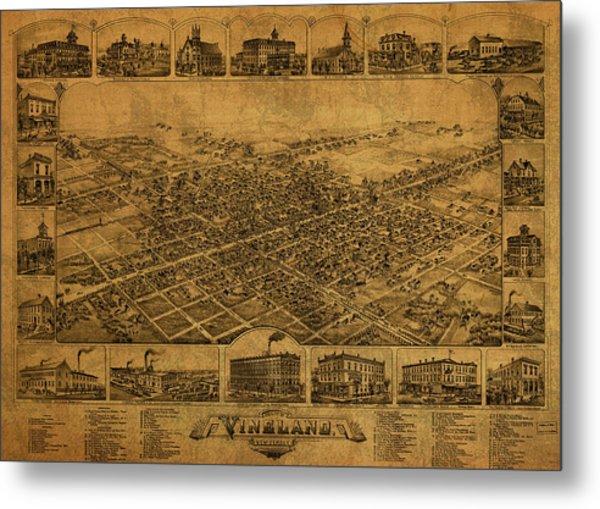 Vineland New Jersey Vintage City Street Map 1885 Metal Print