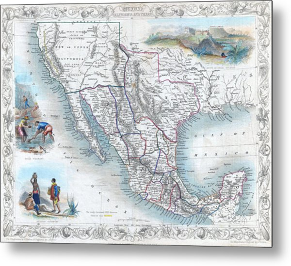 Vingage Map Of Texas, California And Mexico Metal Print
