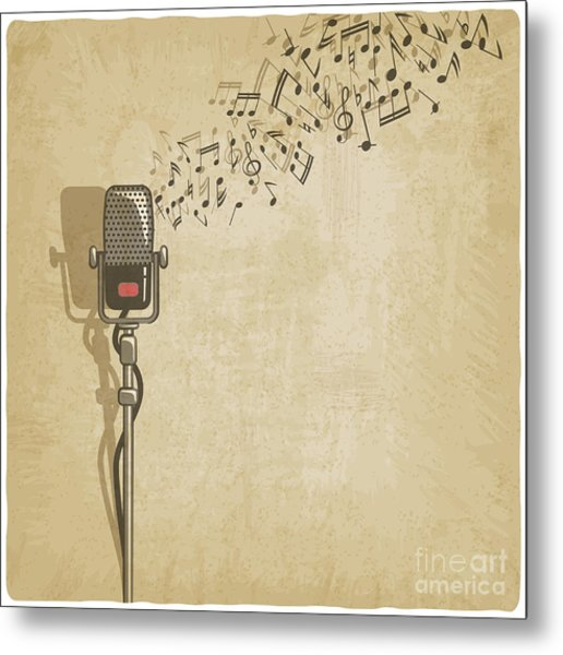 Vintage Background With Microphone - Metal Print
