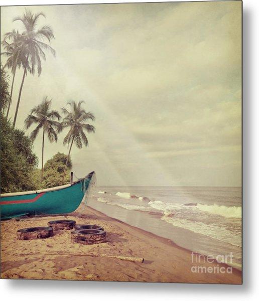 Vintage Beach Background Metal Print by Sundari