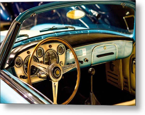 Vintage Blue Car Metal Print